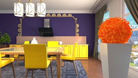 Interior dining area. 3d illustration. Stok Fotoğraf - 124995468
