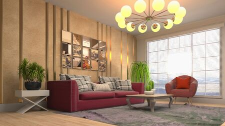 Interior of the living room. 3D illustration. Stok Fotoğraf - 124995489