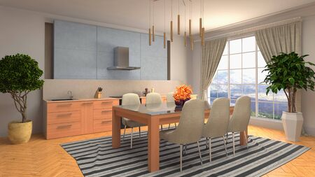 Interior dining area. 3d illustration. Stok Fotoğraf - 124995490