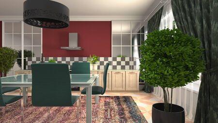 Interior dining area. 3d illustration. Stok Fotoğraf - 124995500