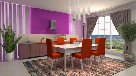 Interior dining area. 3d illustration. Stok Fotoğraf - 124995504
