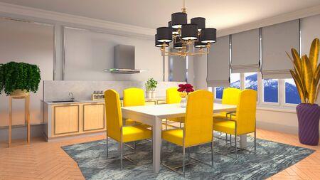 Interior dining area. 3d illustration. Stok Fotoğraf - 124995506