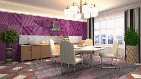 Interior dining area. 3d illustration. Standard-Bild - 124995508
