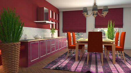 Interior dining area. 3d illustration. Standard-Bild - 124995510