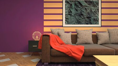 Interior of the living room. 3D illustration. Stok Fotoğraf - 124995511