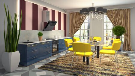 Interior dining area. 3d illustration. Stok Fotoğraf - 124995512