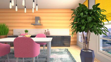 Interior dining area. 3d illustration. Stok Fotoğraf - 124995522