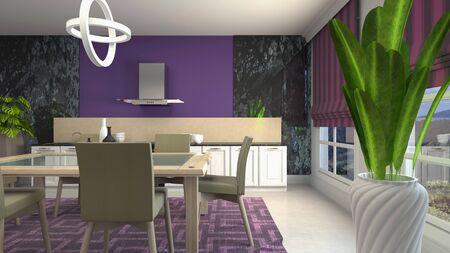 Interior dining area. 3d illustration. Standard-Bild - 124995525