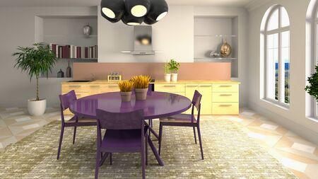 Interior dining area. 3d illustration. Standard-Bild - 124995528