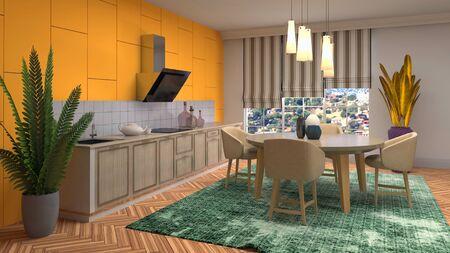 Interior dining area. 3d illustration.