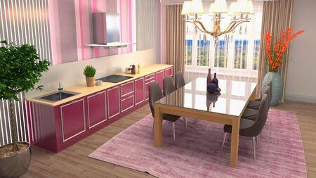Interior dining area. 3d illustration. Standard-Bild - 124995535