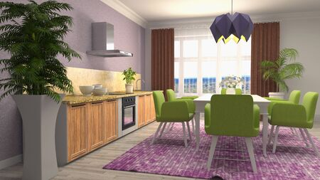 Interior dining area. 3d illustration.