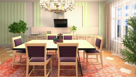 Interior dining area. 3d illustration. Stok Fotoğraf - 124995544
