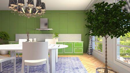 Interior dining area. 3d illustration. Standard-Bild - 124995547