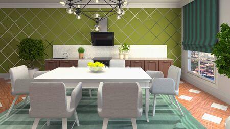 Interior dining area. 3d illustration. Stok Fotoğraf - 124995550