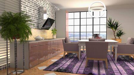 Interior dining area. 3d illustration. Standard-Bild - 124995553