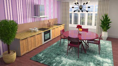 Interior dining area. 3d illustration. Standard-Bild - 124995559