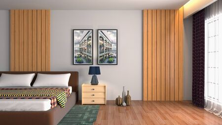 Bedroom interior. Bed. 3d illustration. Stok Fotoğraf - 124995567