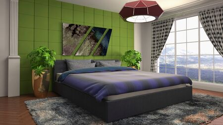 Bedroom interior. Bed. 3d illustration. Stok Fotoğraf - 124995569