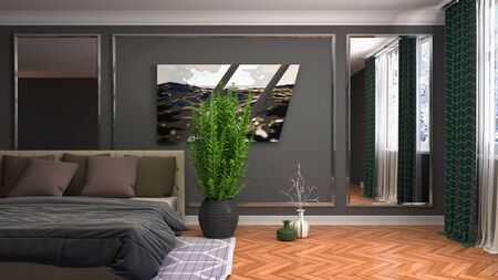 Bedroom interior. Bed. 3d illustration. Stok Fotoğraf - 124995583