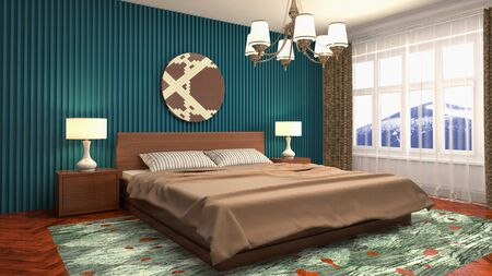Bedroom interior. Bed. 3d illustration. Banco de Imagens - 124995597