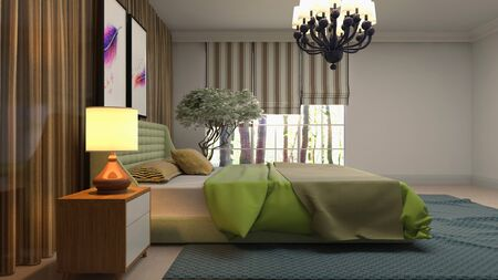 Bedroom interior. Bed. 3d illustration. Banco de Imagens - 124995599