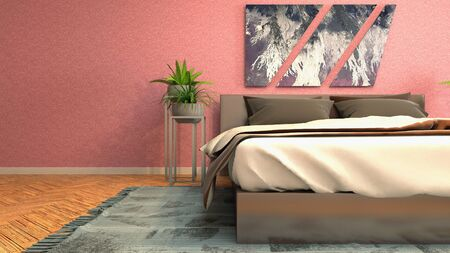 Bedroom interior. Bed. 3d illustration. Banco de Imagens - 124995608