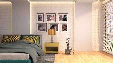 Bedroom interior. Bed. 3d illustration. Banco de Imagens - 124995613