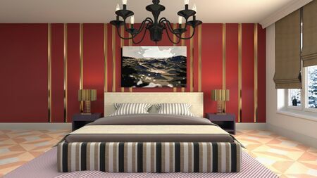 Bedroom interior. Bed. 3d illustration. Banco de Imagens - 124995622
