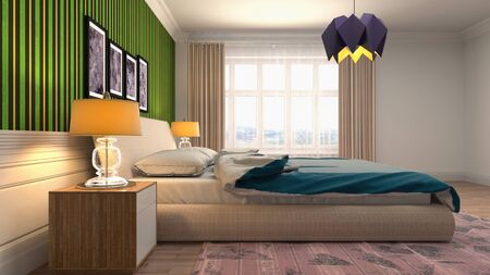 Bedroom interior. Bed. 3d illustration. Banco de Imagens - 124995636