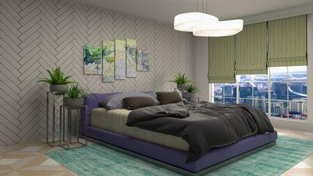 Bedroom interior. Bed. 3d illustration.