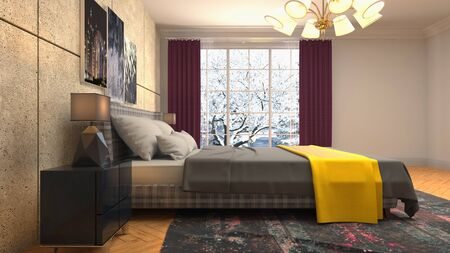 Bedroom interior. Bed. 3d illustration. Banco de Imagens - 124995646
