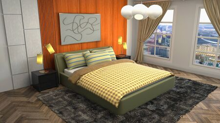 Bedroom interior. Bed. 3d illustration. Banco de Imagens - 124995662