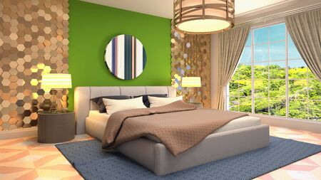 Bedroom interior. Bed. 3d illustration. Banco de Imagens - 124995665