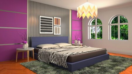 Bedroom interior. Bed. 3d illustration. Banco de Imagens - 124995669