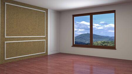 Leerer Innenraum mit Fenster. 3D-Darstellung. Standard-Bild