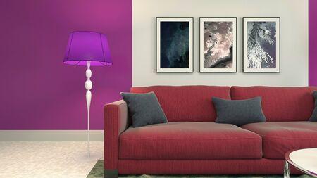 Interieur van de woonkamer. 3D illustratie.