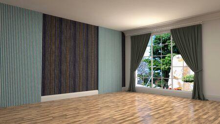 Empty interior with window. 3d illustration. Фото со стока - 128725399