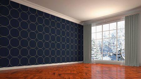 Empty interior with window. 3d illustration. Фото со стока - 128725425
