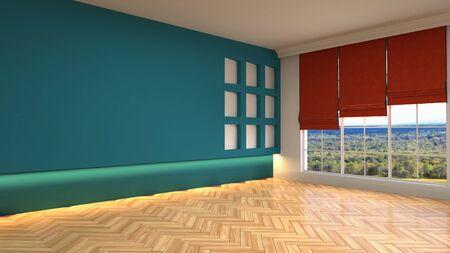 Empty interior with window. 3d illustration. Фото со стока - 128725453