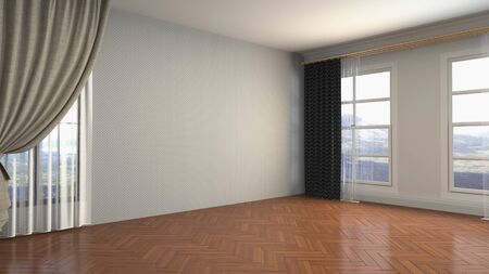 Empty interior with window. 3d illustration. Фото со стока - 128725454