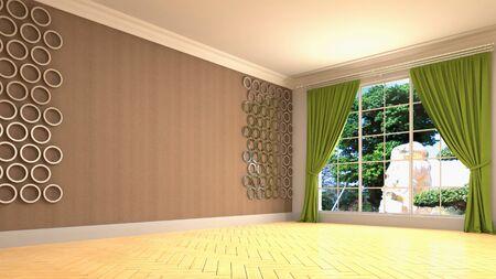 Empty interior with window. 3d illustration. Фото со стока - 128725723