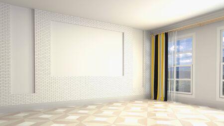 Empty interior with window. 3d illustration. Фото со стока - 128725724