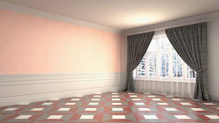 Empty interior with window. 3d illustration. Фото со стока - 128725737