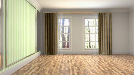 Empty interior with window. 3d illustration. Фото со стока - 128725747