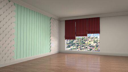 Empty interior with window. 3d illustration. Фото со стока - 128725897