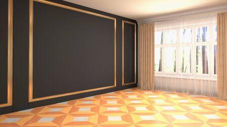 Empty interior with window. 3d illustration. Фото со стока - 128725908