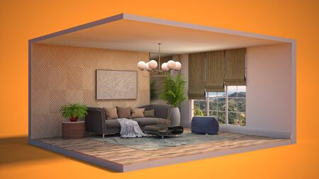 Interior of the living room in a box. 3D illustration.