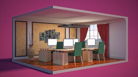 Office interior in a box. 3D illustration.