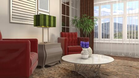interior with chair. 3d illustration. 写真素材 - 128830575